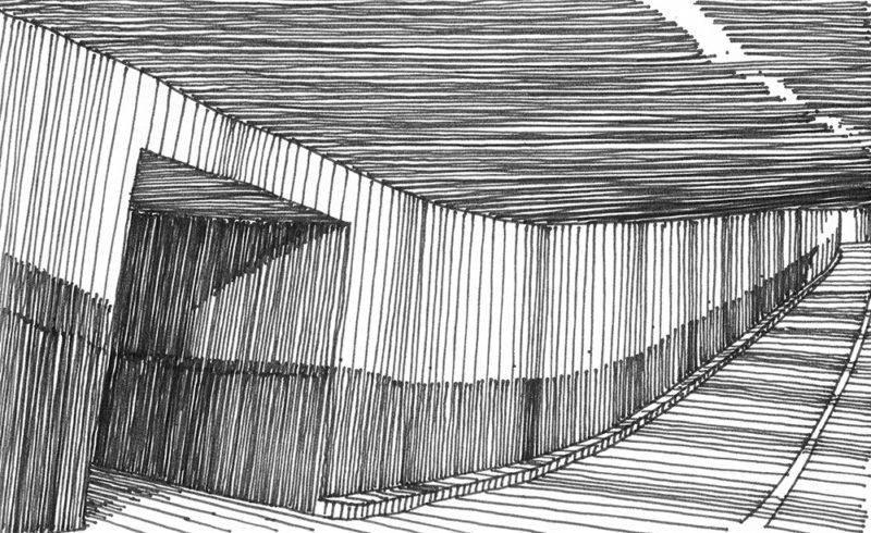 tekeningen, lijn Tunnel met nooduitgang