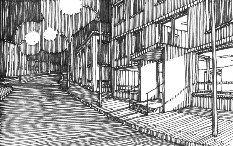 tekeningen, lijn Hotel in Bad Herrenalb