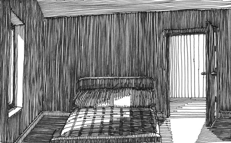 tekeningen, lijn Bed