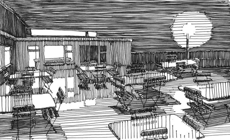 tekeningen, lijn Bourg d'Oisans (terras)