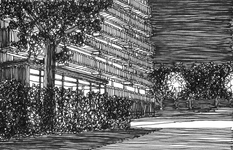 tekeningen, lijn Leidschendam bij nacht