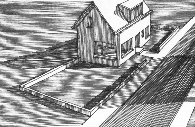 tekeningen, lijn Huis in West-Vlaanderen