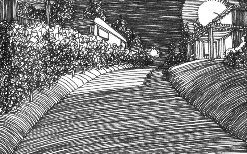 tekeningen, lijn Eifel met caravan
