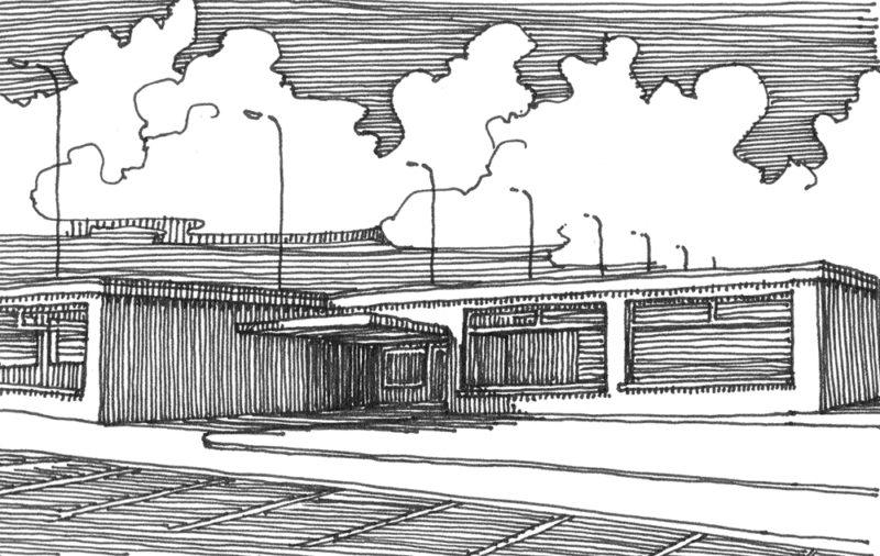 tekeningen, lijn Laagbouw onderweg (overal)