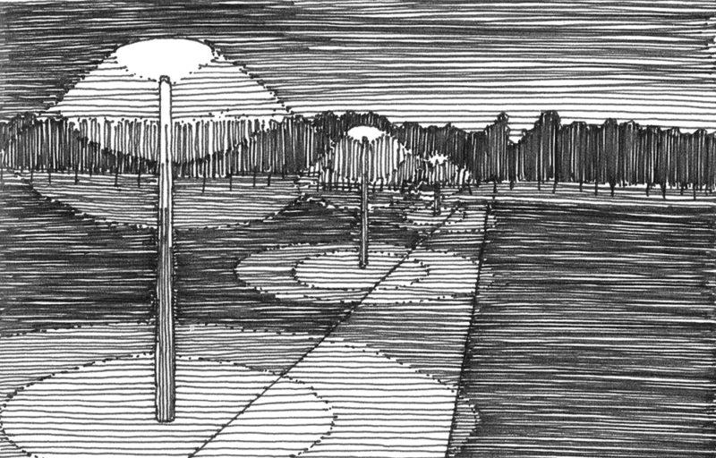 tekeningen, lijn Schemerfietspad