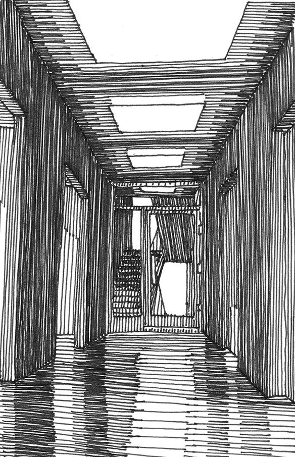 tekeningen, lijn Kantoorgang