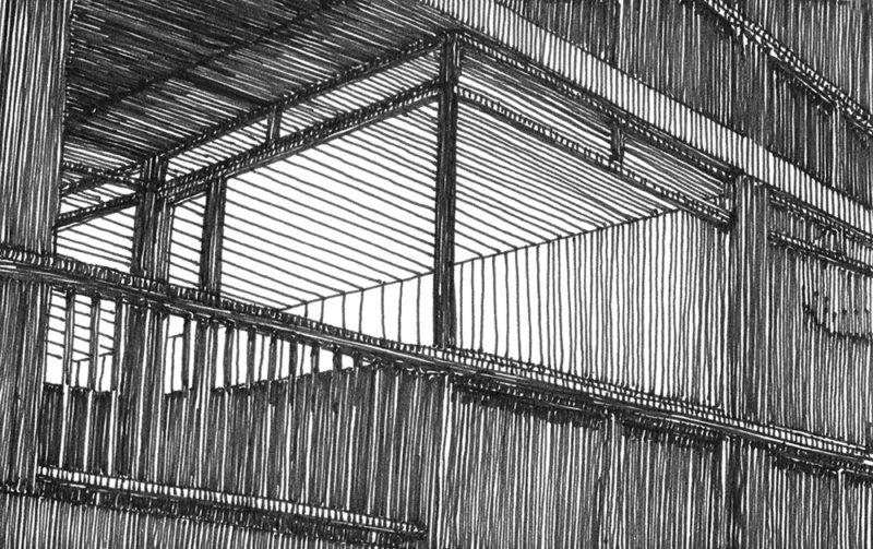 tekeningen, lijn Balkon met matig verlichte kamer