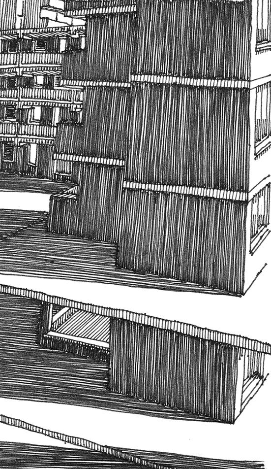 tekeningen, lijn Luifel bij schemer