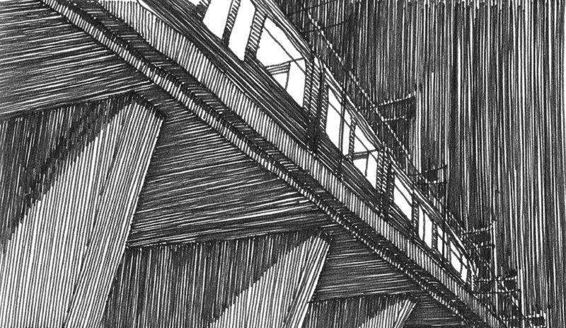 tekeningen, lijn Ternoot bij avond