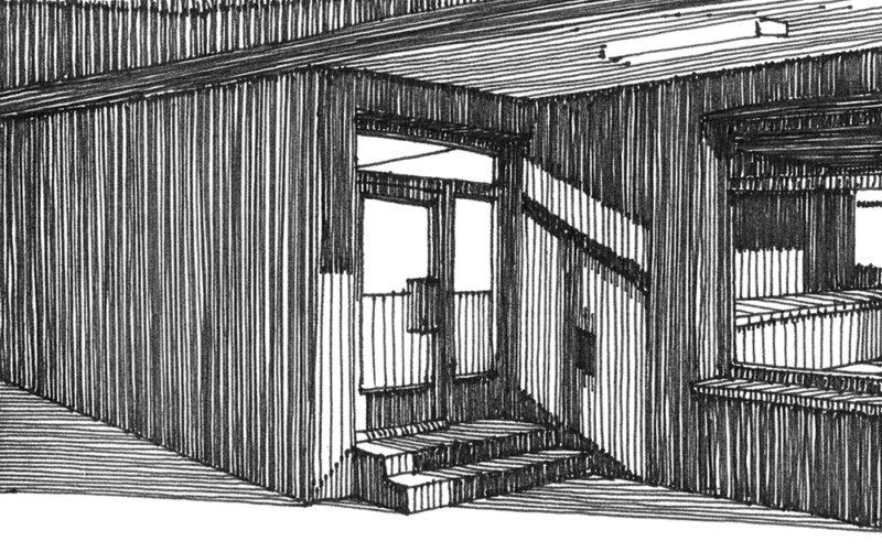 tekeningen, lijn Entree met trap