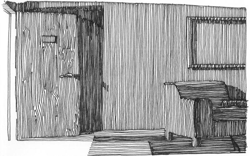 tekeningen, lijn Interieur met open deur