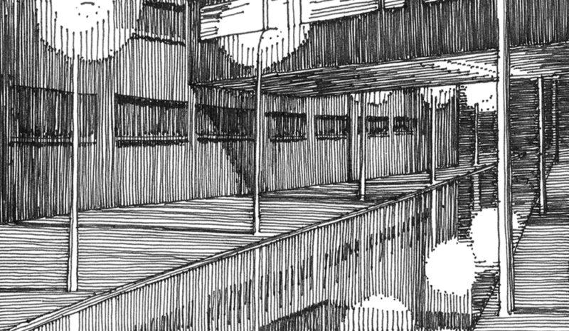 tekeningen, lijn Gracht met oversteek