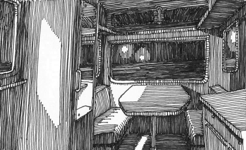 tekeningen, lijn Caravan van binnen