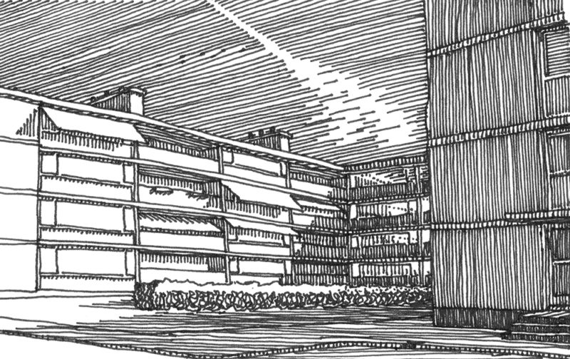 tekeningen, lijn Voorburg met rare wolk