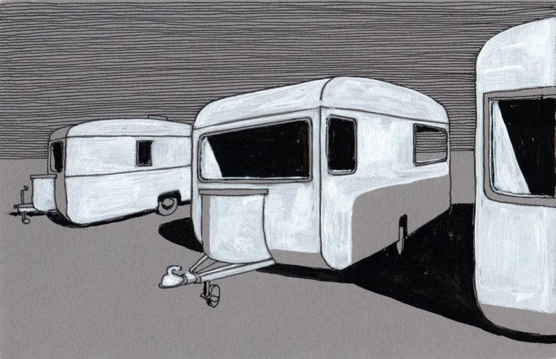 tekeningen, kleur Caravans bij schemer