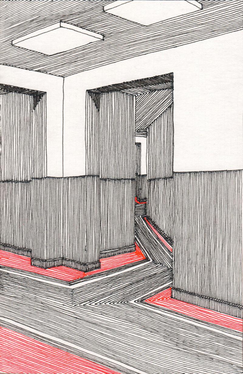 tekeningen, kleur Doorkijk met rode vloer