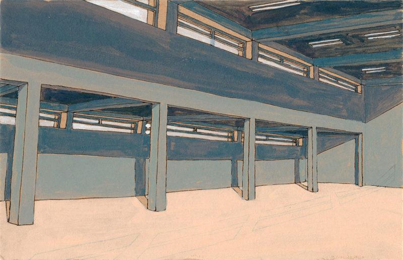 tekeningen, kleur Leimuiden interieur 1