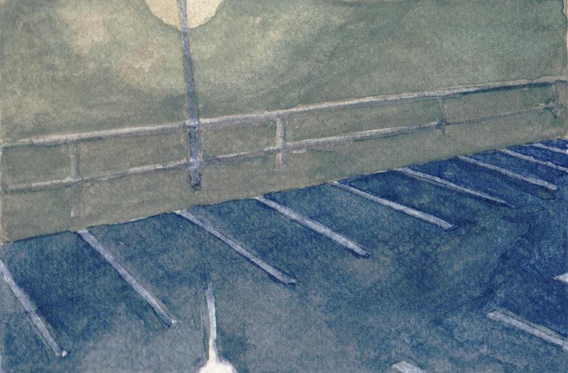 tekeningen, kleur Parkeerplaats bij regen