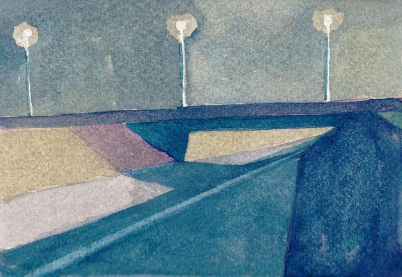 tekeningen, kleur Viaduct bij schemer