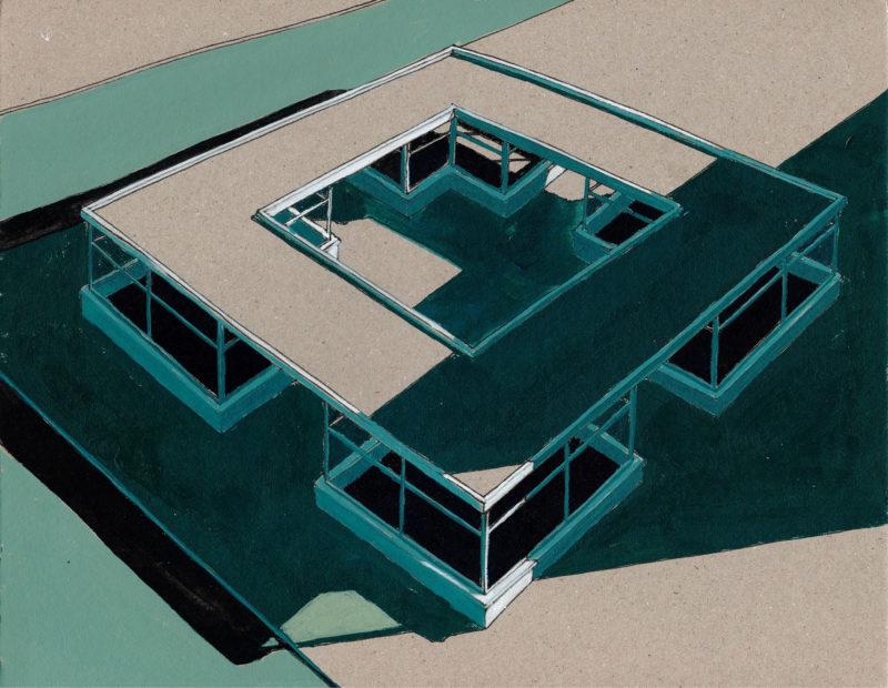tekeningen, kleur Vierkant met slagschaduw