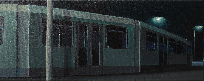 schilderijen Tram bij nacht